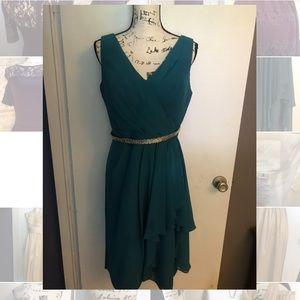 Kanail K teal bridesmaid dress size 12 with belt